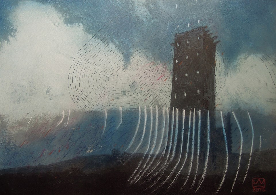 vaida varnagiene tower 5 mixed media carborundum print charcoal varnish on paper 34x49 cm 1 orig
